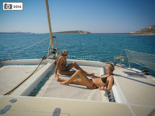 On the Punch catamaran, trampoline nets are both tough to seas and soft to the skin.